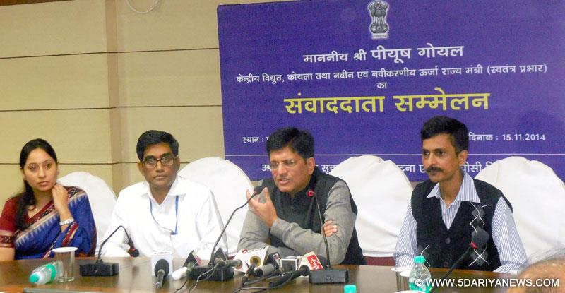 Piyush Goyal addressing a press conference, at Vidyut Bhawan, in Patna on November 15, 2014.