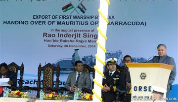 "Rao Inderjit Singh addressing at the handing over ceremony of the Mauritius Offshore Patrol Vessel (MOPV) ""Barracuda"" built by the Garden Reach Ship Builders and Engineers Ltd. (GRSE) to the Government of Mauritius, in Kolkata on December 20, 2014."
