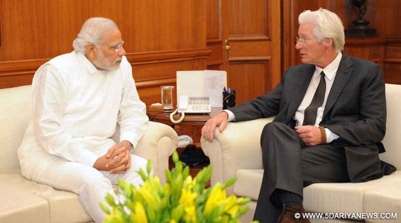 The Hollywood Actor, Chairman, Gere Foundation and Global Envoy of International Buddhist Confederation,Richard Gere calls on the Prime Minister, Narendra Modi, in New Delhi on January 05, 2015.