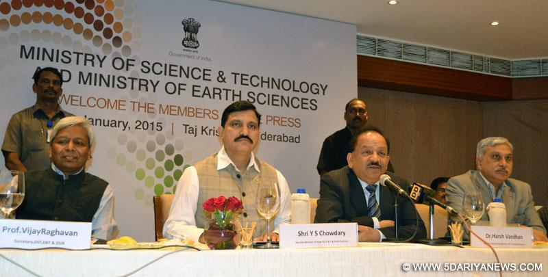 Dr. Harsh Vardhan addressing the media on recent achievements and contributions of Science & Technology and Earth sciences, during the 'National Press Conference', in Hyderabad on January 08, 2015.