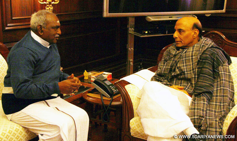 The Minister of State for Road Transport & Highways and Shipping,  P. Radhakrishnan calling on the Union Home Minister, Rajnath Singh, in New Delhi on January 21, 2015.