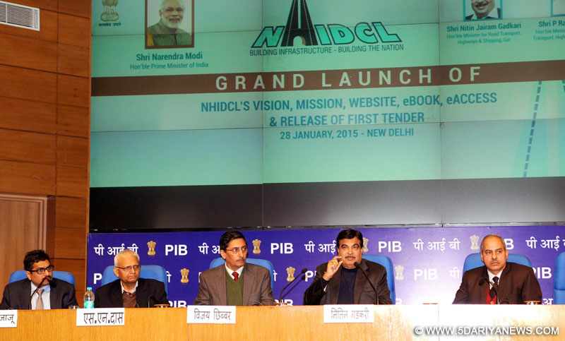 Nitin Gadkari addressing at the launch of the Logo, Vision, Mission, Website and e-book of National Highways and Infrastructure Development Corporation Limited (NHIDCL), in New Delhi