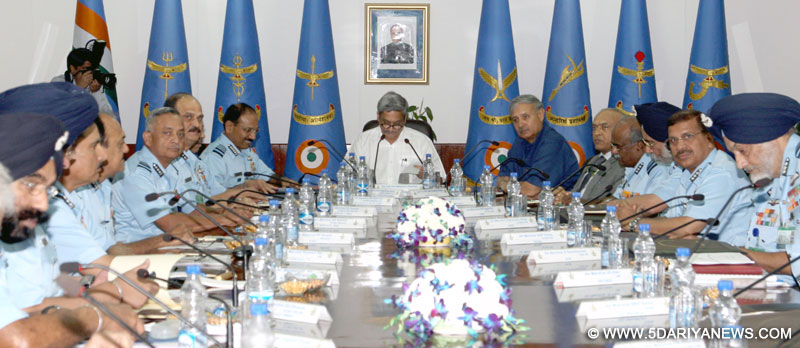 The Union Minister for Defence, Manohar Parrikar addressing the Air Force Commanders, at the Air Force Commanders' Conference, in New Delhi on April 20, 2015. The Minister of State for Planning (Independent Charge) and Defence, Rao Inderjit Singh and the Defence Secretary, R.K. Mathur are also seen.