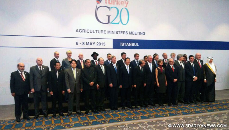 The Union Minister for Agriculture, Radha Mohan Singh with other members at G-20 Agriculture Ministers Meet, at Istanbul on May 08, 2015.