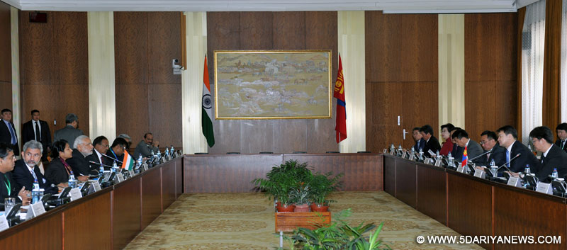 The Prime Minister, Narendra Modi at the Delegation Level Talks between India and Mongolia, at the State Palace, in Mongolia on May 17, 2015.