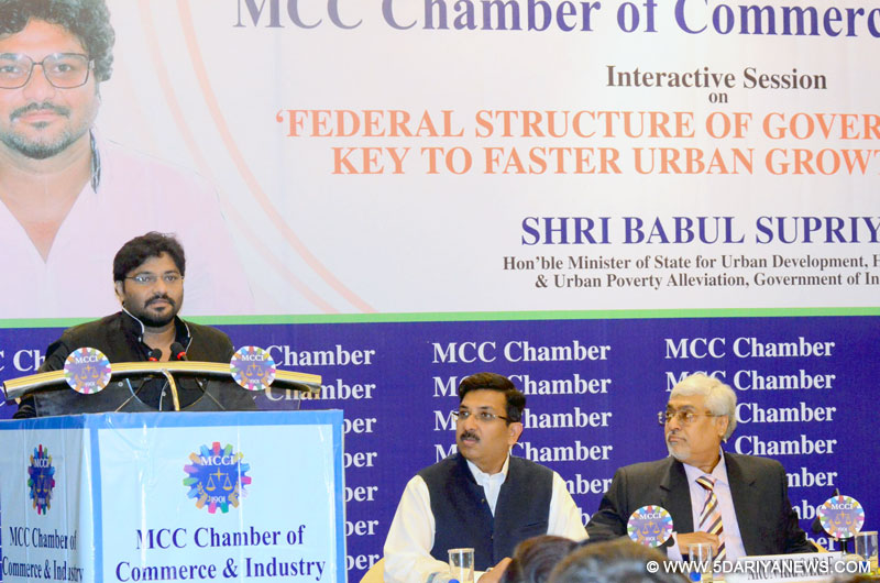 "Babul Supriyo speaking at an interactive session on ""Federal Structure of Governance is the Key to faster Urban Growth in India"", organised by the MCC Chamber of Commerce & Industry, Kolkata on June 15, 2015."