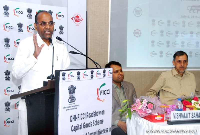 "Anant Geete addressing at the workshop on ""Enhancement of Competitiveness in the Indian Capital Goods Sector"", in Mumbai on July 06, 2015."
