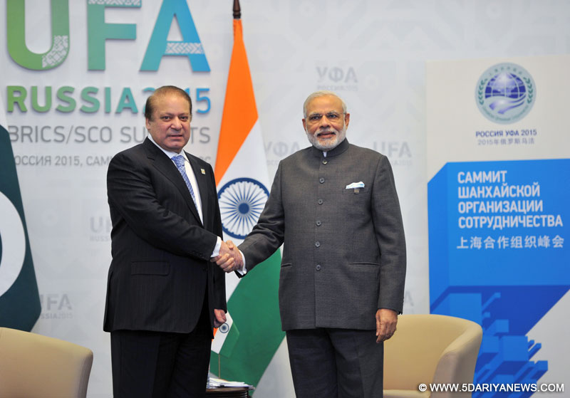 The Prime Minister,  Narendra Modi meeting the Prime Minister of Pakistan, Nawaz Sharif, on the sidelines of the SCO Summit, in Ufa, Russia on July 10, 2015.
