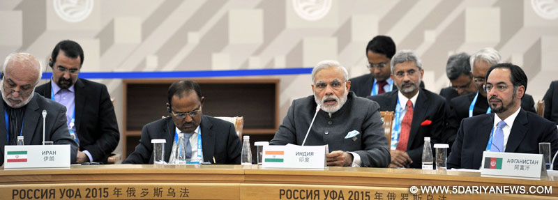 Narendra Modi delivering his address at SCO Heads of State Council Plenary Session, in Ufa, Russia on July 10, 2015.