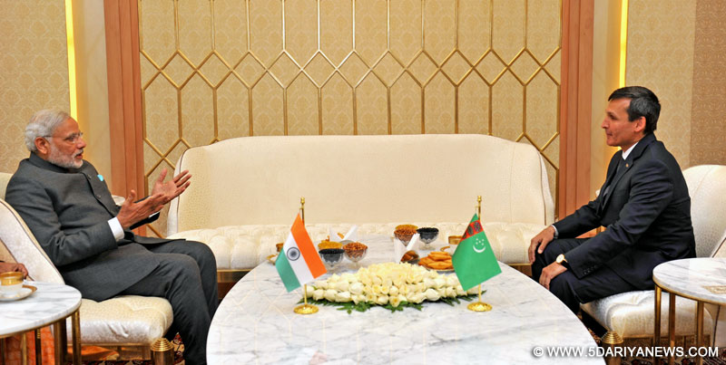 The Prime Minister, Shri Narendra Modi meeting the Deputy Prime Minister and Minister of Foreign Affairs of Turkmenistan, Mr. Rasit Meredow, in Ashgabat, Turkmenistan on July 10, 2015.