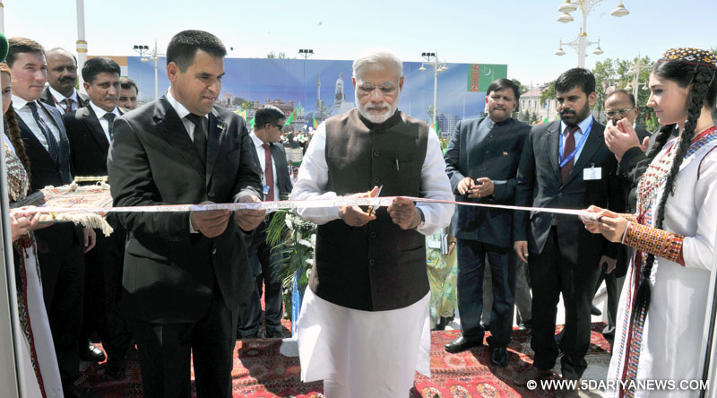 The Prime Minister,  Narendra Modi inaugurating the Traditional Medicine and Yoga Centre, in Ashgabat, Turkmenistan on July 11, 2015.