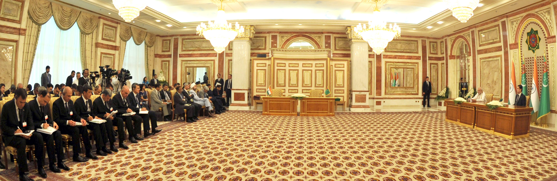The Prime Minister, Shri Narendra Modi with the President of Turkmenistan, Mr. Gurbanguly Berdimuhamedov at the Press Statements, in Ashgabat, Turkmenistan on July 11, 2015.