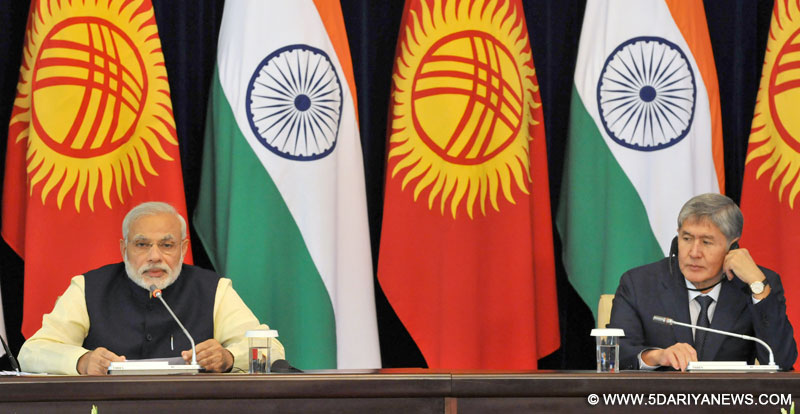 The Prime Minister, Shri Narendra Modi delivering his statement to the media at Joint Press Briefing with the President of Kyrgyz Republic, Mr. Almazbek Atambayev, at Ala-Archa State Residence, in Bishkek, Kyrgyzstan on July 12, 2015.