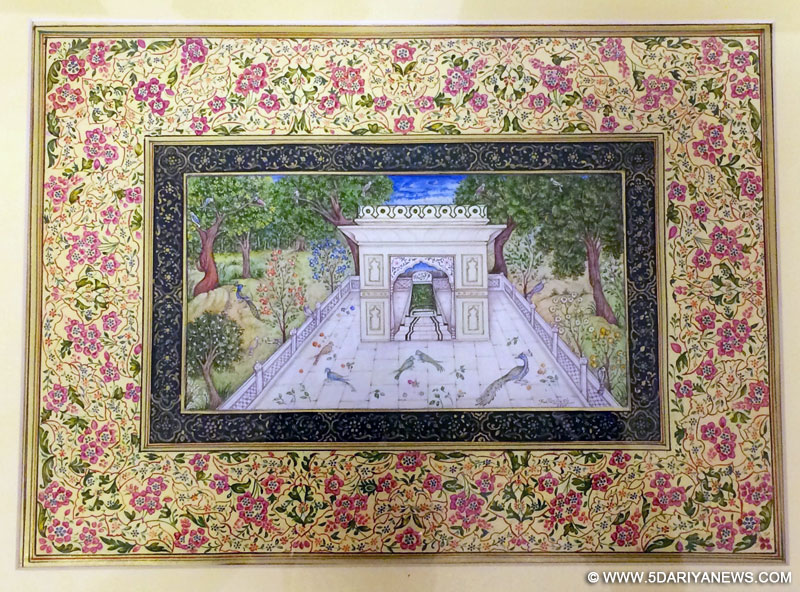 The Prime Minister, Shri Narendra Modi's gift to the President of Tajikistan, Mr. Emomali Rahmon: a miniature painting of tomb of the 17th century Indian poet Abdul Qadir Bedil, at the Qasr-e-Millat, in Dushanbe, Tajikistan on July 13, 2015.