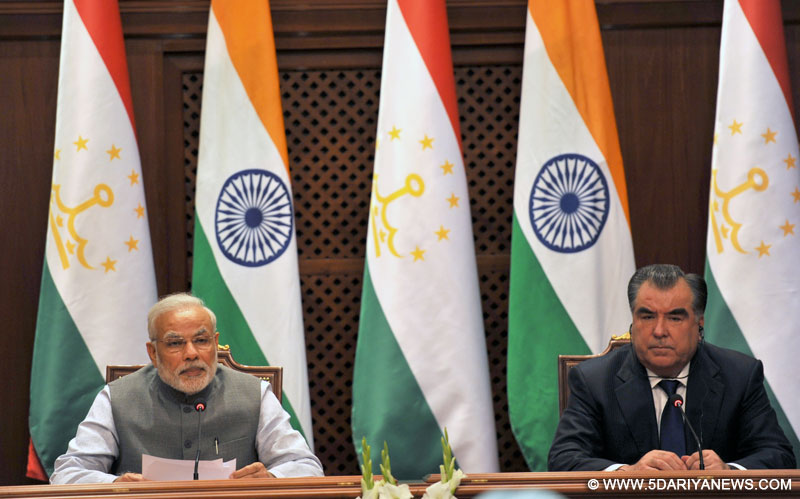 The Prime Minister, Shri Narendra Modi delivering his statement to media at the Joint Press Briefing with the President of Tajikistan, Mr. Emomali Rahmon, at Qasr-e-Millat, in Dushanbe, Tajikistan on July 13, 2015.