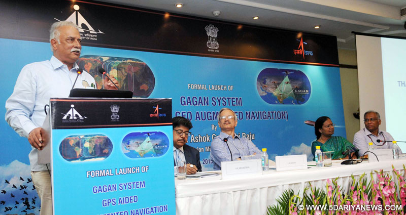 Minister for Civil Aviation, Ashok Gajapathi Raju Pusapati addressing at the launch of the GAGAN System for aviation use, in New Delhi on July 13, 2015.