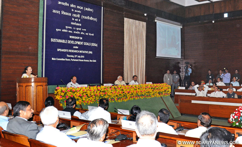 The Speaker, Lok Sabha, Smt. Sumitra Mahajan addressing at the Workshop on Sustainable Development Goals under Speaker