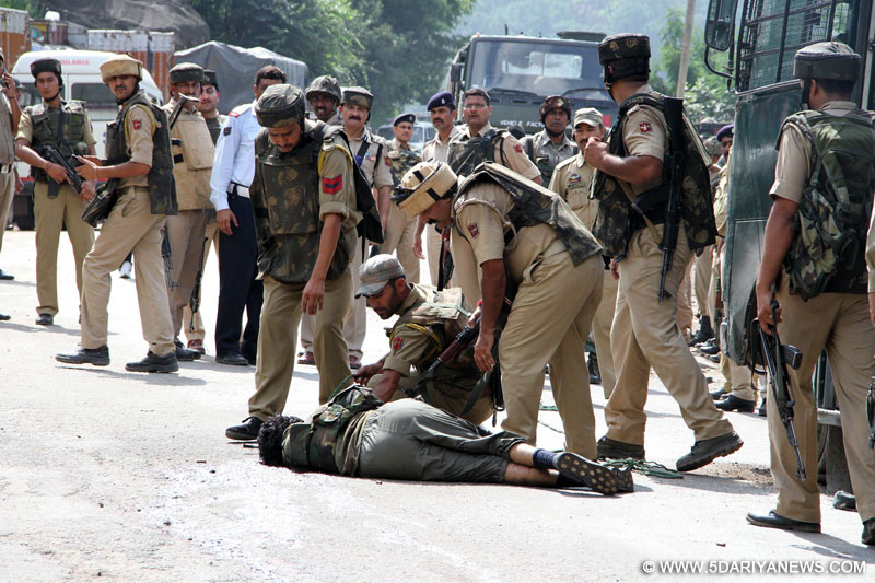 Jammu: The body of a terrorist who was involved in an ambush on a BSF convoy on the Jammu-Srinagar highway in Udhampur district of Jammu and Kashmir on Aug 5, 2015.