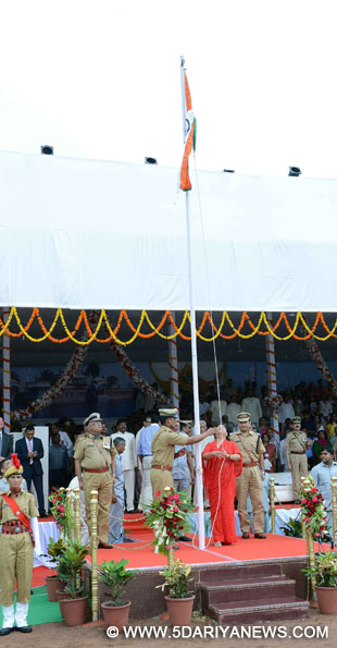 Rajasthan Chief Minister Vasundhara Raje hoists the national flag on the occasion of 69th ``Independence Day`` celebration in Kota, Rajasthan on Aug 15, 2015.