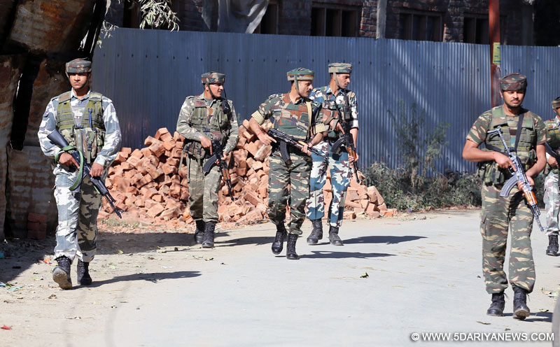 Sopore:Army personnel on patrol duty in Sopore of Jammu and Kashmir