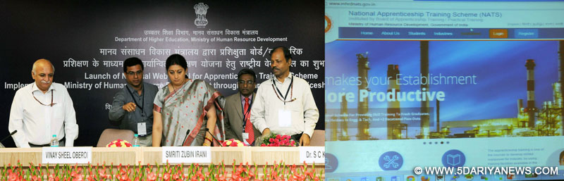 The Union Minister for Human Resource Development, Smt. Smriti Irani launching the National Web Portal for Apprenticeship Training Scheme, implemented by the Ministry of Human Resource Development through Boards of Apprenticeship/Practical Training, in New Delhi on September 10, 2015. The Secretary, Department of Higher Education and Member Secretary, CABE, Shri V.S. Oberoi and the Secretary, School Education and Literacy, Dr. Subash Chandra Khuntia are also seen.
