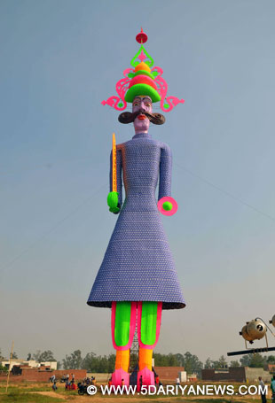 A 210-feet tall effigy of Raavana claimed to be the tallest in the world; in Barara village 60 km away from Chandigarh on Oct 21, 2015.