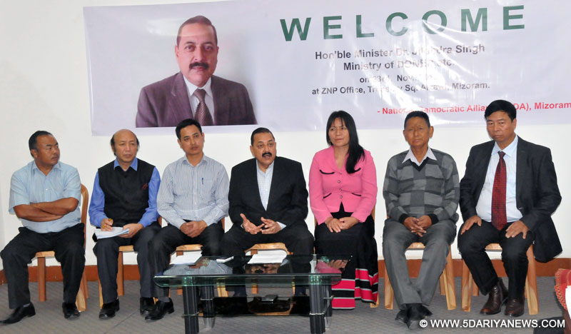 Dr. Jitendra Singh addressing a press conference, at Aizawl, in Mizoram on November 23, 2015.