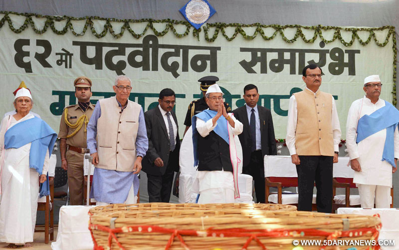 The President, Shri Pranab Mukherjee attending the 62nd convocation of Gujarat Vidyapith, at Ahmedabad, in Gujarat on December 01, 2015. The Governor of Gujarat, Shri O.P. Kohli is also seen.