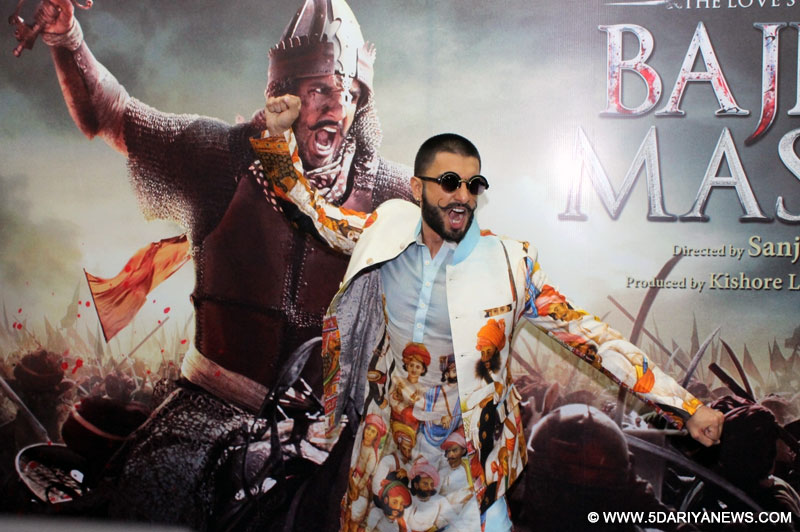 "Actor Ranveer Singh during promotion of his upcoming film ""Bajirao Mastani"" in Nagpur, on Dec 1, 2015."