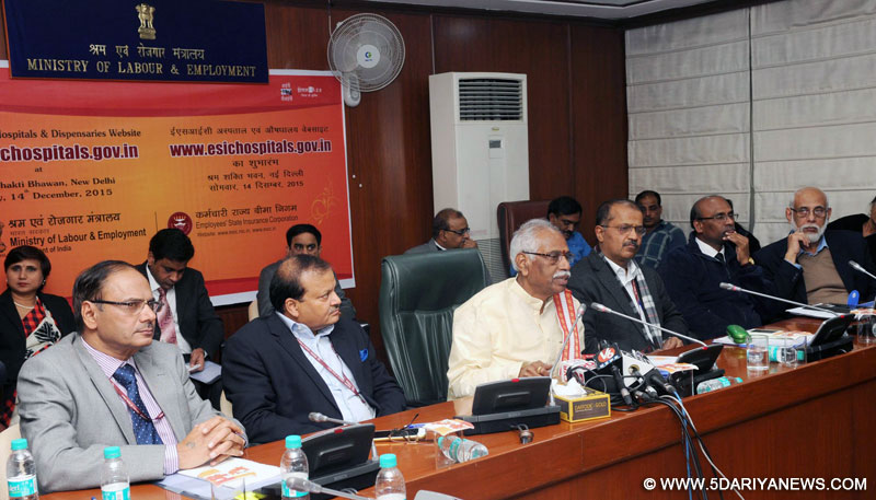 "Bandaru Dattatreya addressing at the launch of the website of all the ESIC Hospitals & Dispensaries, ""www.esichospitals.gov.in"", in New Delhi on December 14, 2015. The Secretary, Ministry of Labour and Employment, Shri Shankar Aggarwal and other dignitaries are also seen."