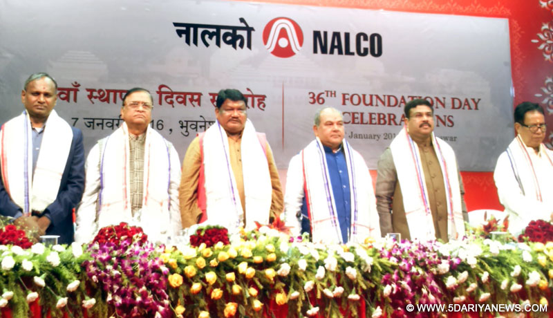Narendra Singh Tomar,  Jual Oram, Dharmendra Pradhan, Prafulla Mallick and other dignitaries at the 36th Foundation Day of NALCO, in Bhubaneswar on January 07, 2016.