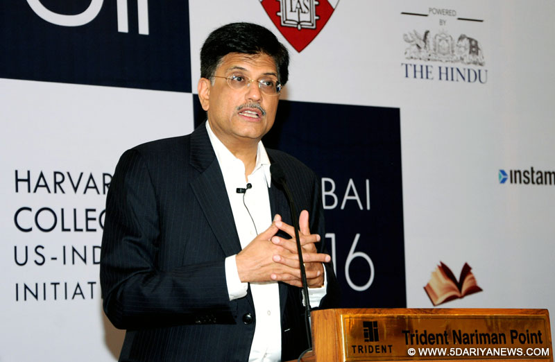 Piyush Goyal addressing at the function of Harvard College Us- India Initiative conference, in Mumbai on January 09, 2016.