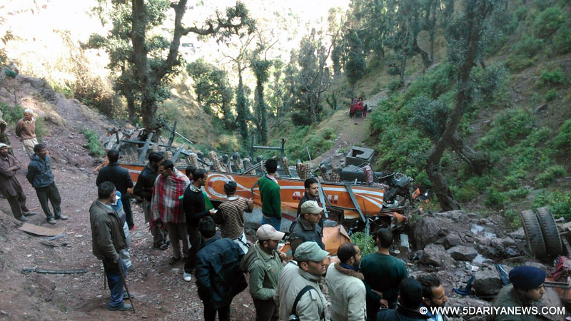 Rescue operations underway at the site where a bus fell into a gorge in Jammu and Kashmir