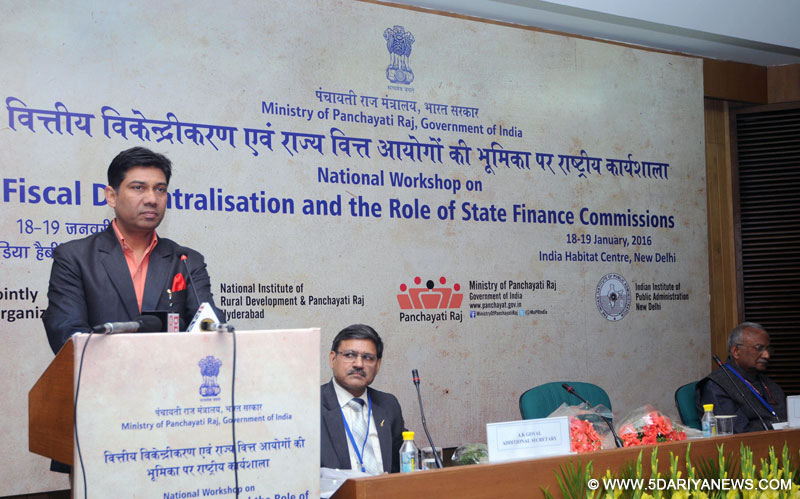 The Minister of State for Panchayati Raj, Shri Nihalchand addressing at the inauguration of a National Workshop on Fiscal Decentralisation and the Role of State Finance Commissions, in New Delhi on January 18, 2016.
