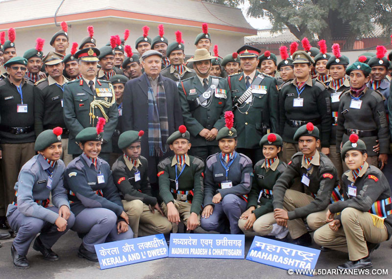 The Minister of State for Planning (Independent Charge) and Defence, Shri Rao Inderjit Singh in a group photograph at the DG NCC Republic Day Camp 2016, in New Delhi on January 19, 2016. The DG NCC, Lt. Gen. Aniruddha Chakravarty is also seen.
