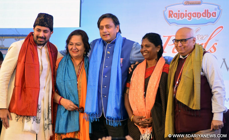 Syed Salman Chishty, Pinky Anand, Shashi Tharoor, P. Sivakami and Sudheendra Kulkarni during a session at the Jaipur Literature Festival in Jaipur on Jan 23, 2016.
