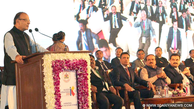 Arun Jaitley addressing the inaugural function of the Invest Karnataka-2016,
