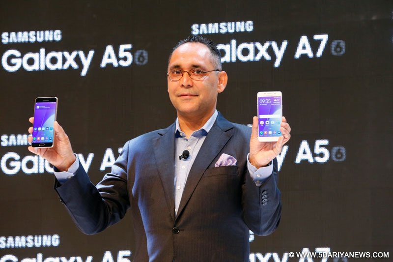 Samsung India Electronics Director, Mobiles Business Manu Sharma announce the launch of the 2016 edition of Galaxy A7 and Galaxy A5 at Samsung Southwest Asia Forum 2016 in Kuala Lumpur on Feb 4, 2016.