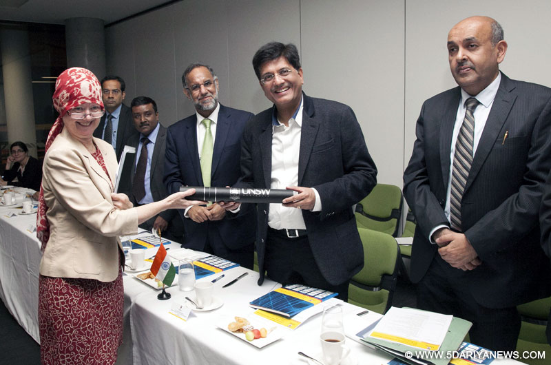 Piyush Goyal at the University of New South Wales, in Sydney on February 09, 2016. The High Commissioner of India to Australia, Shri Navdeep Suri is also seen.