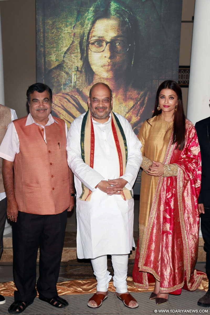 "Actress Aishwarya Rai with BJP President Amit Shah and Nitin Gadkari and Union Transport Minister at poster launch of film ""Sarbjit"", in New Delhi, on February 29,2016."