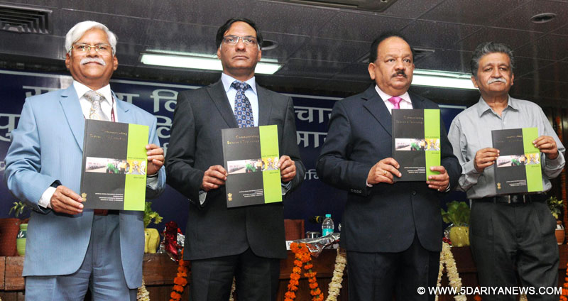 The Union Minister for Science & Technology and Earth Sciences, Dr. Harsh Vardhan releasing a publication at the National Science Day celebrations, in New Delhi on March 01, 2016.