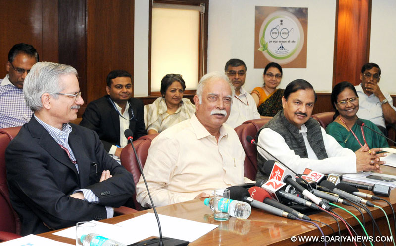 Ashok Gajapathi Raju Pusapati addressing the media about the Budget related issues, in New Delhi on March 02, 2016. The Minister of State for Culture (Independent Charge), Tourism (Independent Charge) and Civil Aviation, Dr. Mahesh Sharma and the Secretary, Ministry of Civil Aviation, Shri R.N. Choubey are also seen.