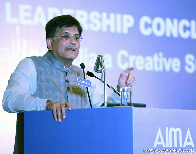 The Minister of State (Independent Charge) for Power, Coal and New and Renewable Energy, Shri Piyush Goyal addressing at the AIMA