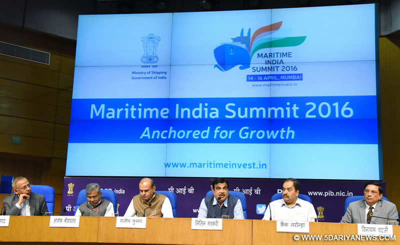 The Union Minister for Road Transport & Highways and Shipping, Shri Nitin Gadkari addressing at the Media Launch of Maritime India Summit 2016, in New Delhi on March 09, 2016. The Secretary, Ministry of Shipping, Shri Rajive Kumar, the Director General (M&C), Press Information Bureau, Shri A.P. Frank Noronha and other dignitaries are also seen.