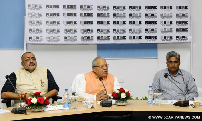 The Union Minister for Micro, Small and Medium Enterprises, Shri Kalraj Mishra declaring the action taken on the meeting of the Committee of Secretaries, at a function, in New Delhi on March 15, 2016. The Minister of State for Micro, Small & Medium Enterprises, Shri Giriraj Singh is also seen.