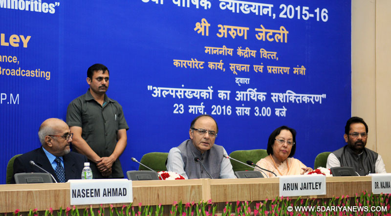 The Union Minister for Finance, Corporate Affairs and Information & Broadcasting, Shri Arun Jaitley delivering the 8th Annual NCM Lecture on 'Economic Empowerment of Minorities', in New Delhi on March 23, 2016. The Union Minister for Minority Affairs, Dr. Najma A. Heptulla and the Minister of State for Minority Affairs and Parliamentary Affairs, Shri Mukhtar Abbas Naqvi are also seen.
