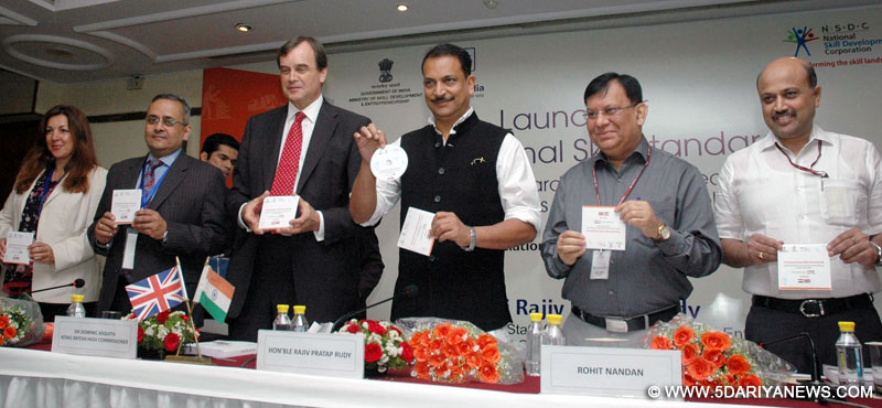 "The Minister of State for Skill Development & Entrepreneurship (Independent Charge) and Parliamentary Affairs, Shri Rajiv Pratap Rudy launching the ""Transnational Skill Standards"" (Indian Standards benchmarked to UK Standards) across 82 job roles, at a function, in New Delhi on April 05, 2016."