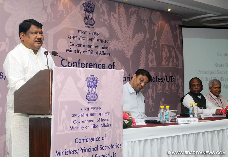 The Union Minister for Tribal Affairs, Shri Jual Oram addressing at the inauguration of the Conference of State Tribal Welfare Ministers/ Principal Secretaries/ Secretaries to evolve strategies for overall development of tribal communities, in New Delhi on April 07, 2016.