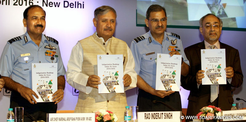 The Minister of State for Planning (Independent Charge) and Defence, Shri Rao Inderjit Singh releasing the Indigenisation booklet, at a seminar on 'Make in India Air Force', in New Delhi on April 19, 2016. The Chief of the Air Staff, Air Chief Marshal Arup Raha and the Air Officer-in-Charge Maintenance, Air Marshal V.M. Khanna are also seen.