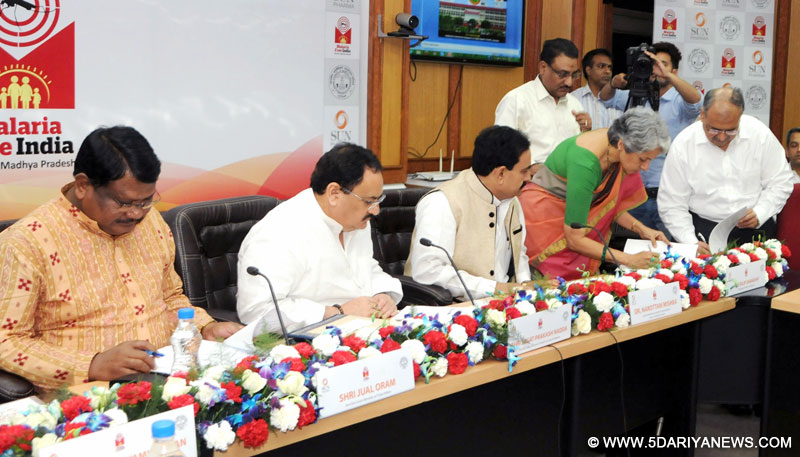 The Union Minister for Health & Family Welfare, Shri J.P. Nadda and the Union Minister for Tribal Affairs, Shri Jual Oram witnessing the signing ceremony of India's first public-private-partnership (PPP) agreement between ICMR and Sun Pharma, in Research and Innovation in Preventive Health, in New Delhi on April 25, 2016.